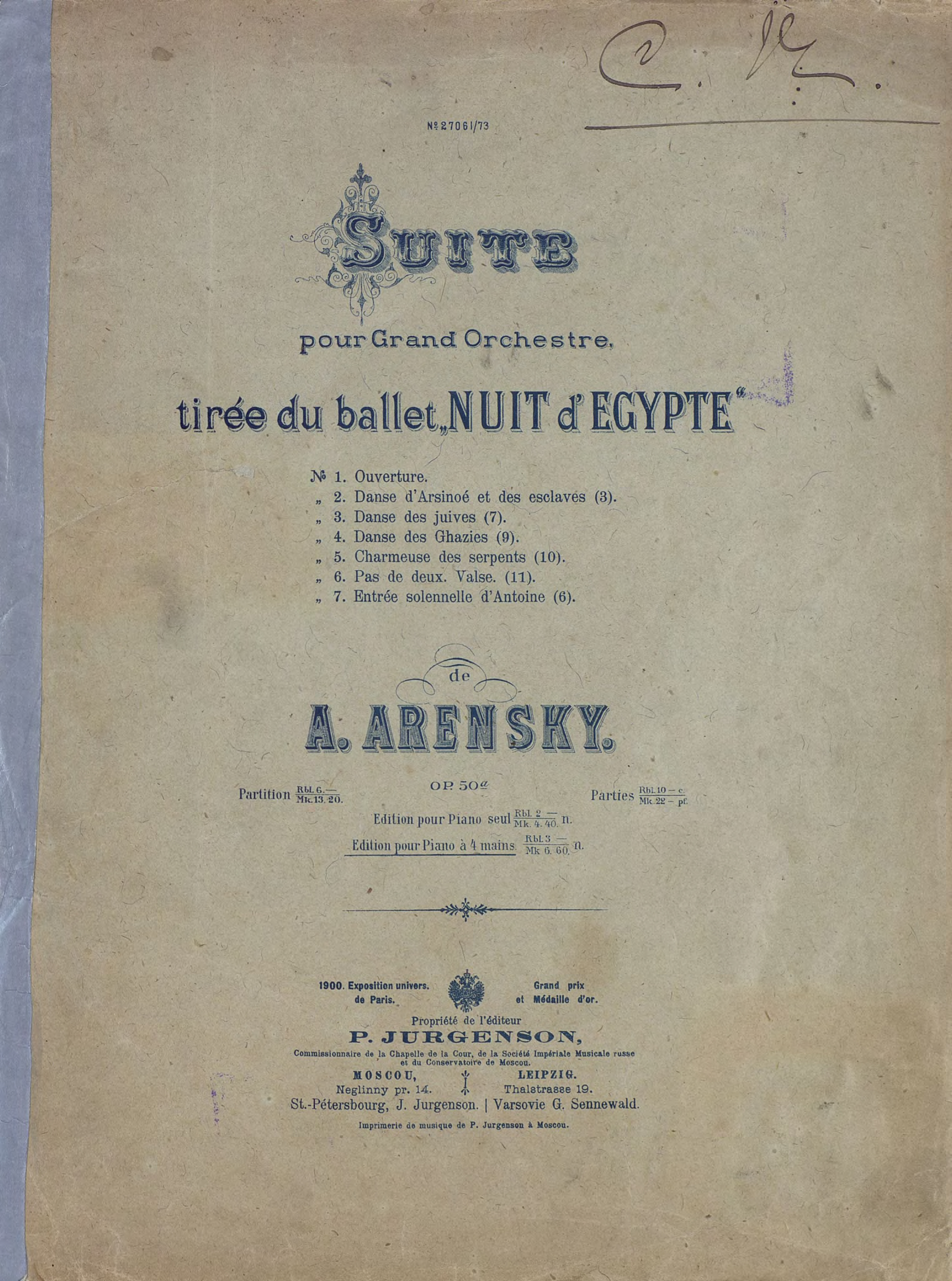 """Suite pour grand Orchester tiree du ballet""""Nuit d'Egypte""""de A. Arensky"""