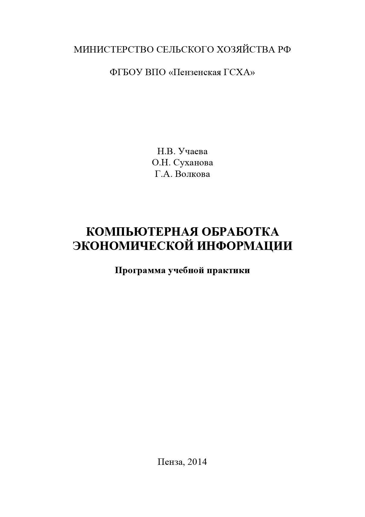 фото обложки издания Компьютерная обработка экономической информации