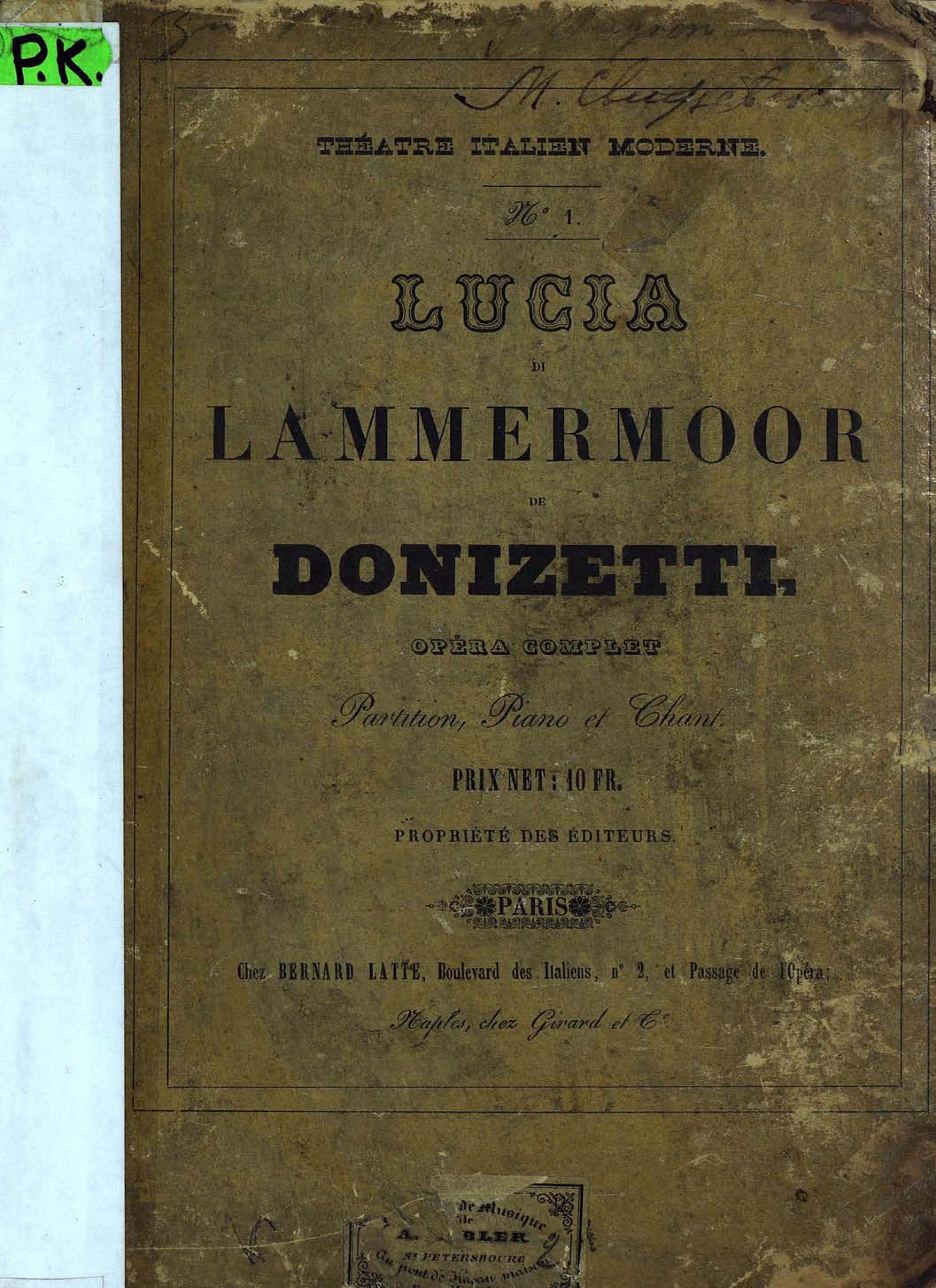 Гаэтано Доницетти Lucia di Lammermoor de G. Donizetti цена