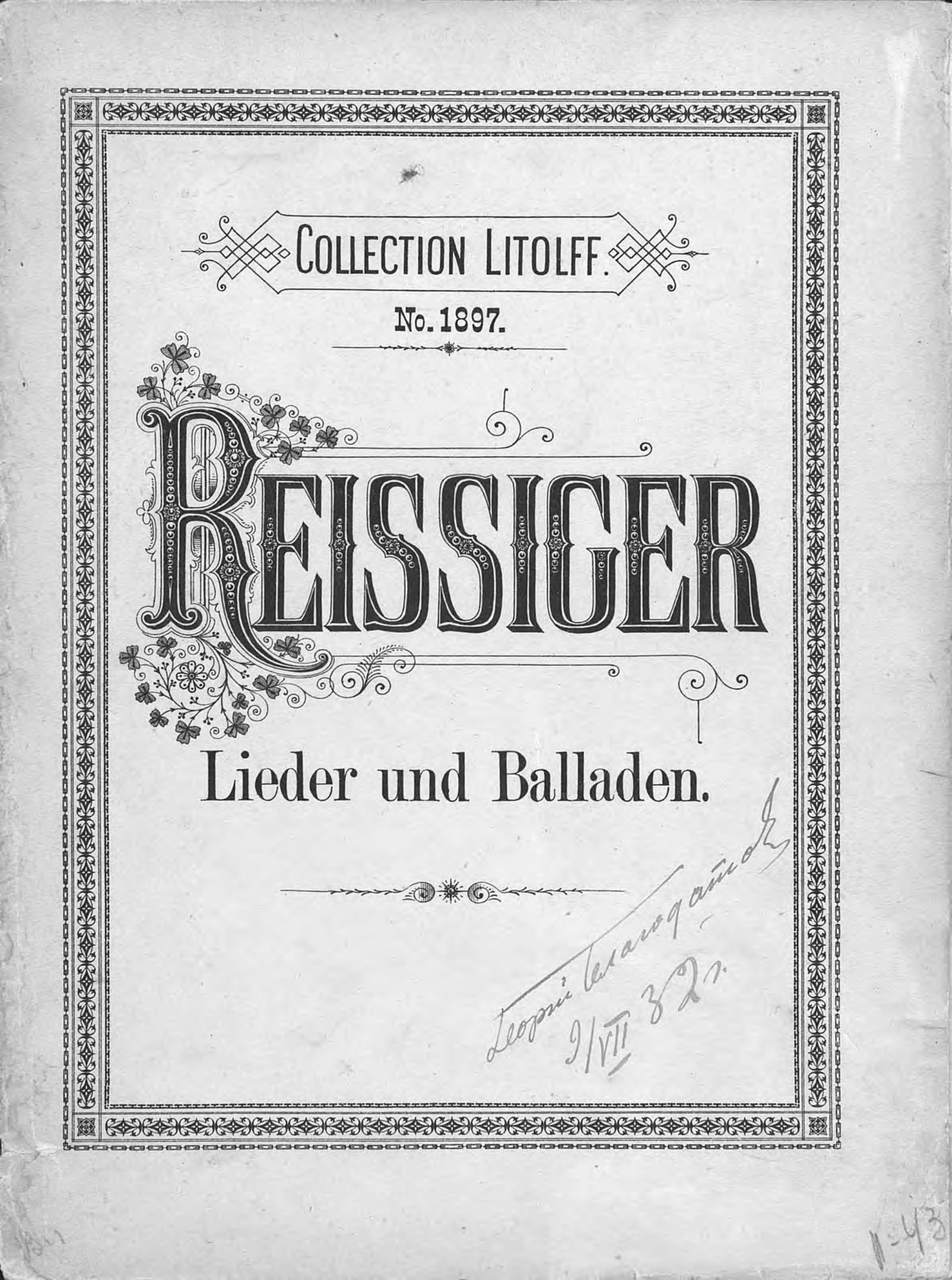 Ц. Рейссигер Lieder und Balladen fur eine Singstimme mit Pianofortebegleitung v. C. G. Reissiger