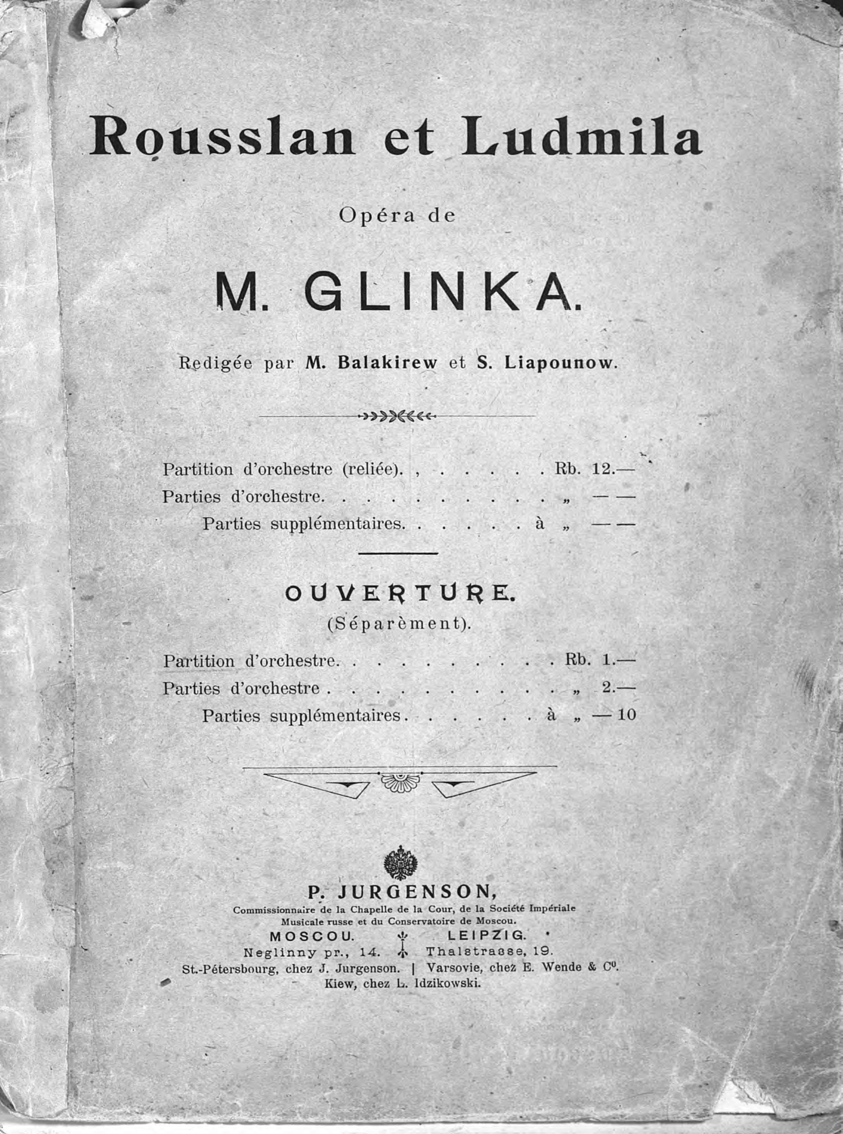 Михаил Иванович Глинка Rousslan et Ludmila ludmila kirina to love