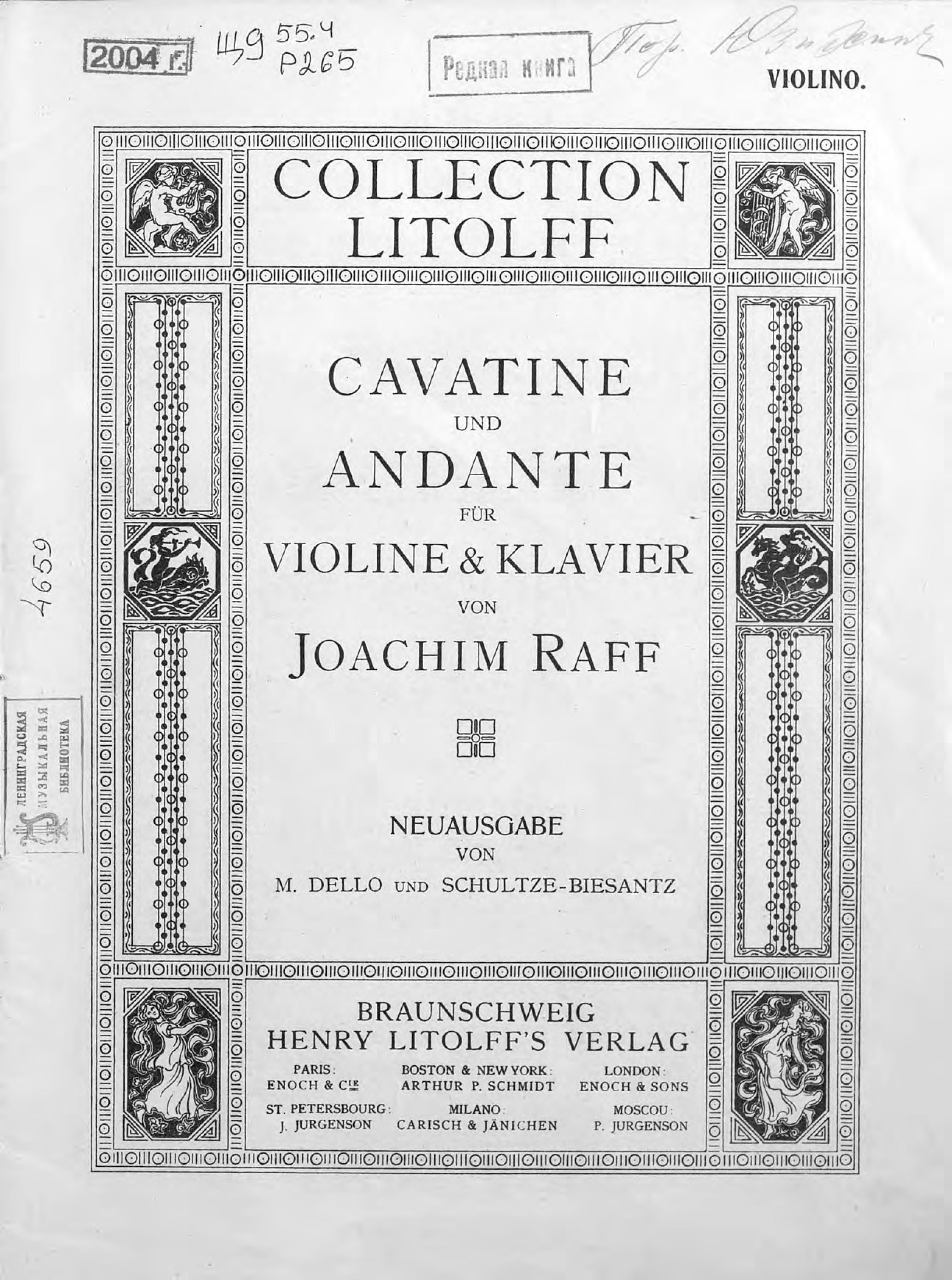 Йозеф Иоахим Рафф Cavatine, op. 85, № 3 und Andante fur violine & Klavier von J. Raff g schumann 3 stucke fur klavier op 23