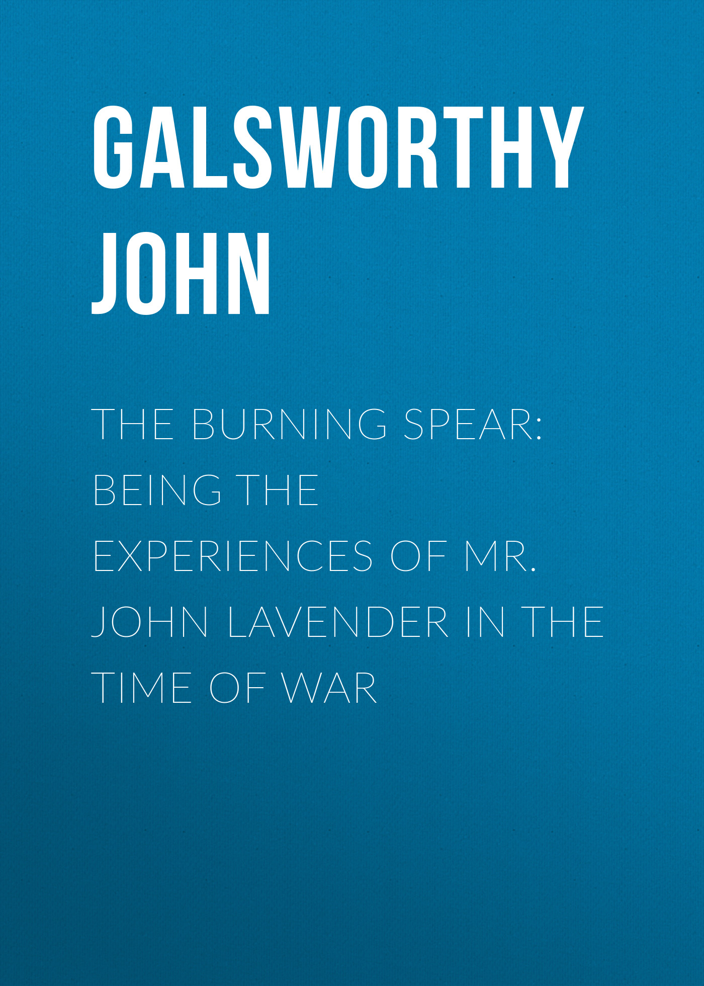 Galsworthy John The Burning Spear: Being the Experiences of Mr. John Lavender in the Time of War