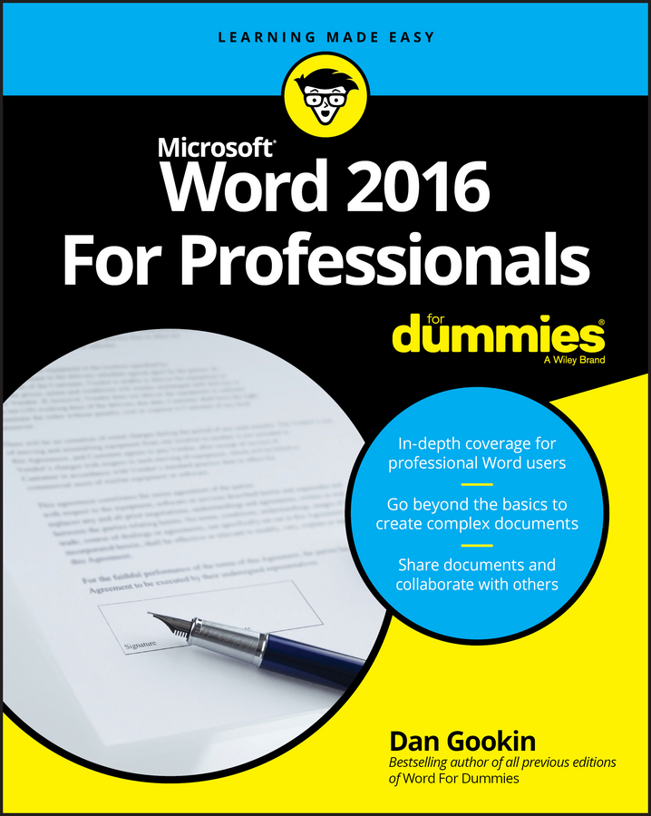 Dan Gookin Word 2016 For Professionals For Dummies word 2010 elearning kit for dummies