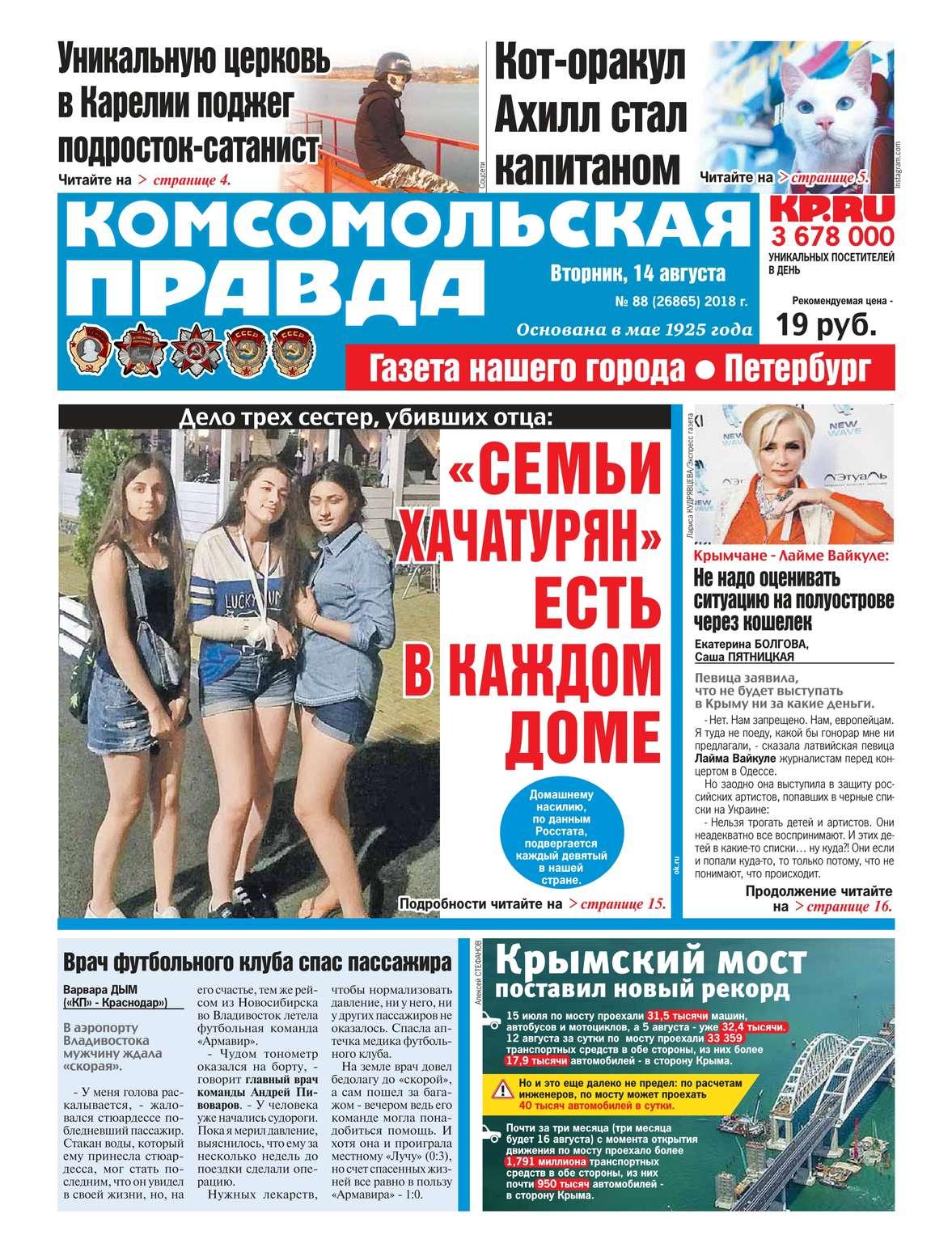 Редакция газеты Комсомольская Правда. - Комсомольская Правда. - 88-2018