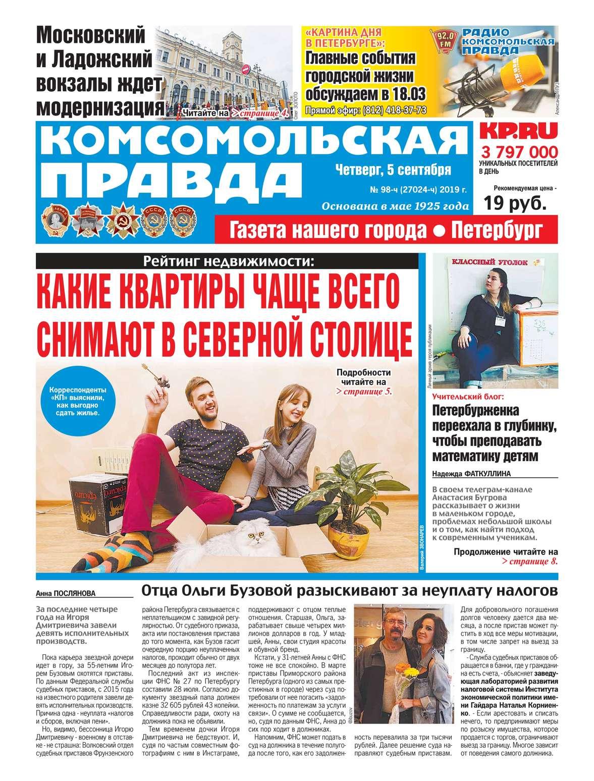 Редакция газеты Комсомольская Правда. Санкт-Петербург 98ч-2019