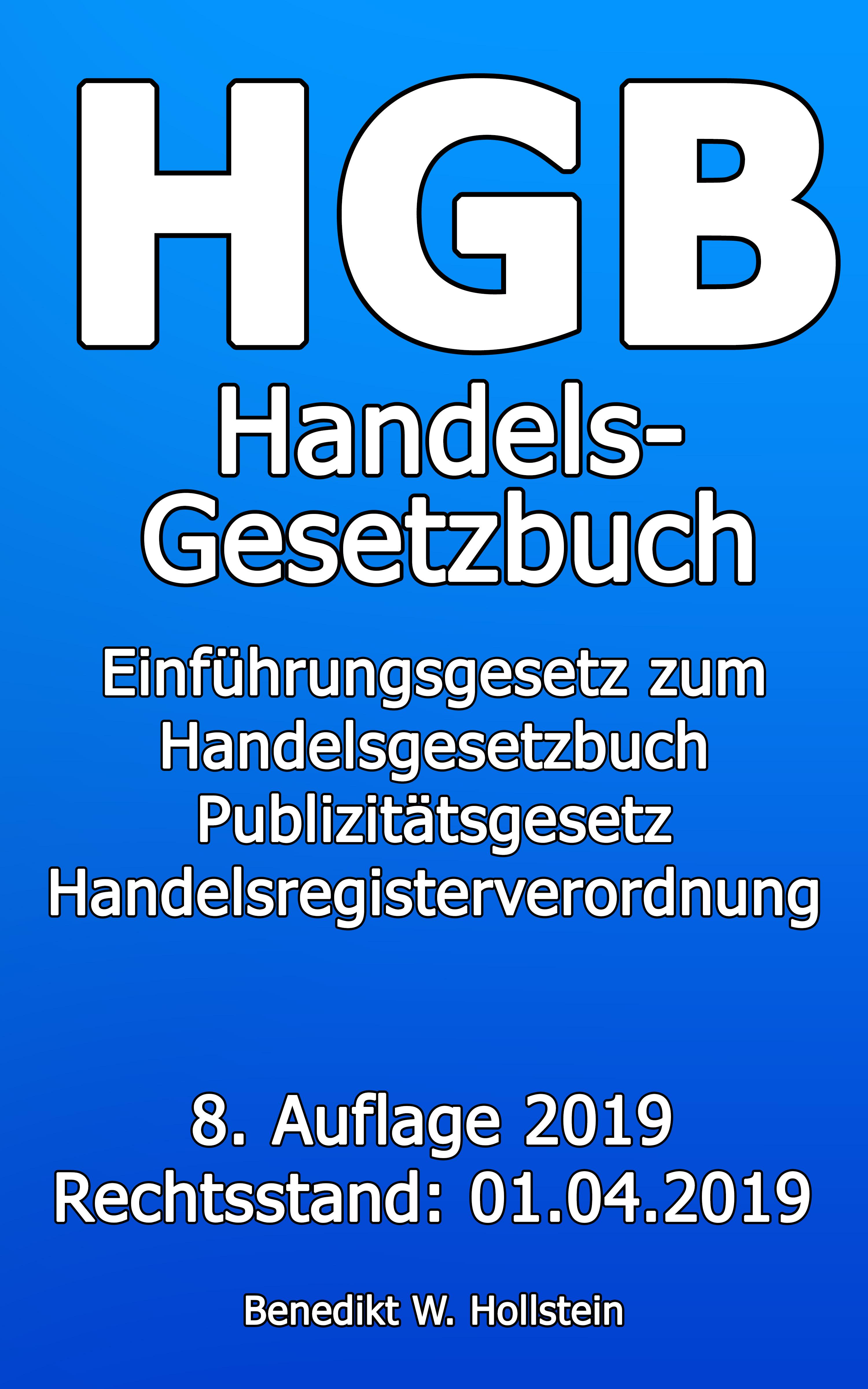 Benedikt W. Hollstein HGB Handelsgesetzbuch hankel hgb 1832 black