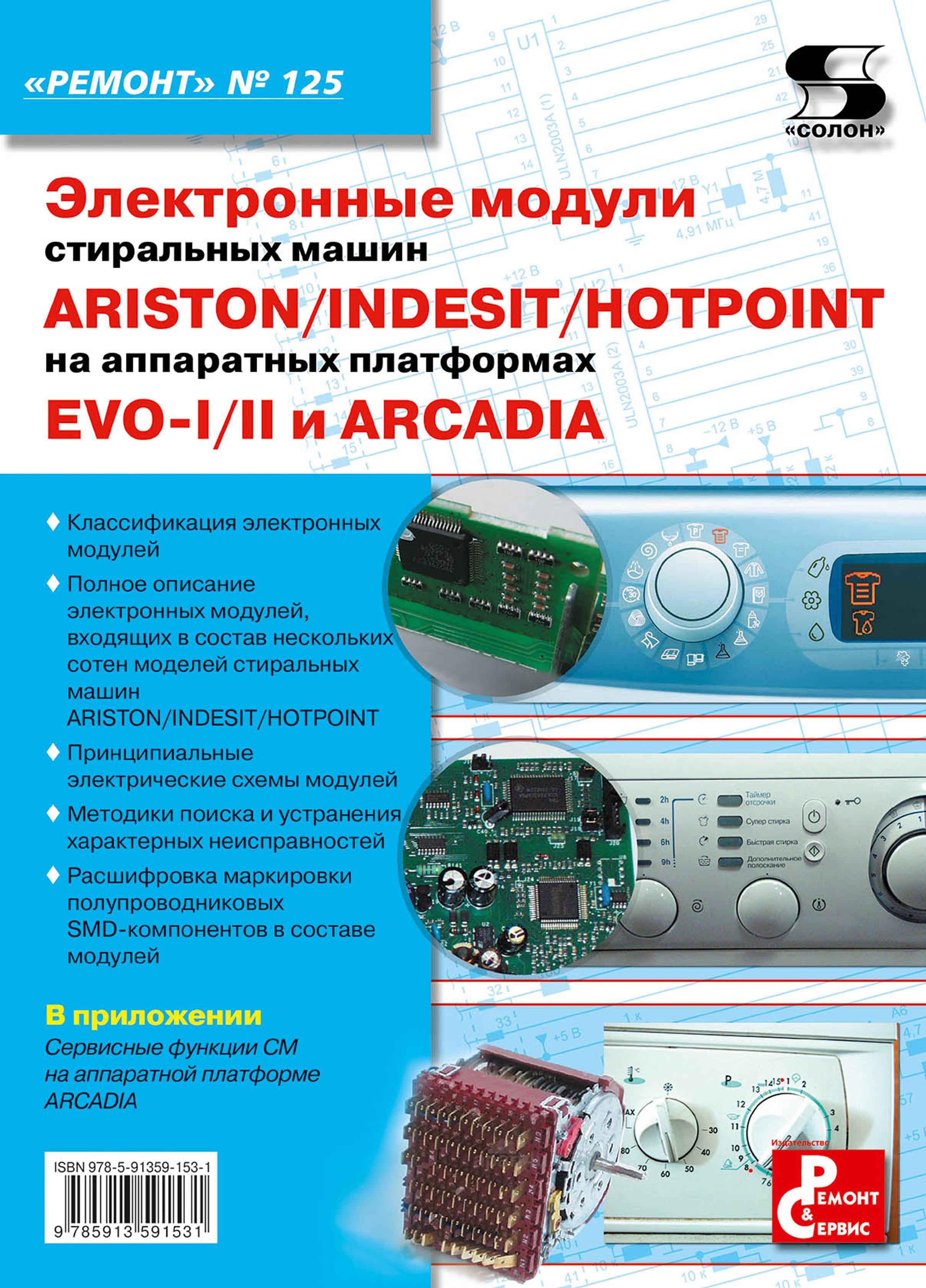 Отсутствует Электронные модули стиральных машин INDESIT/ARISTON/HOTPOINT на аппаратных платформах EVO-I/II, ARCADIA