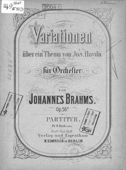Иоганнес Брамс Variationen uber ein Thema v. Jos. Haydn fur Orchester v. Johannes Brahms h von herzogenberg thema und variationen op 86