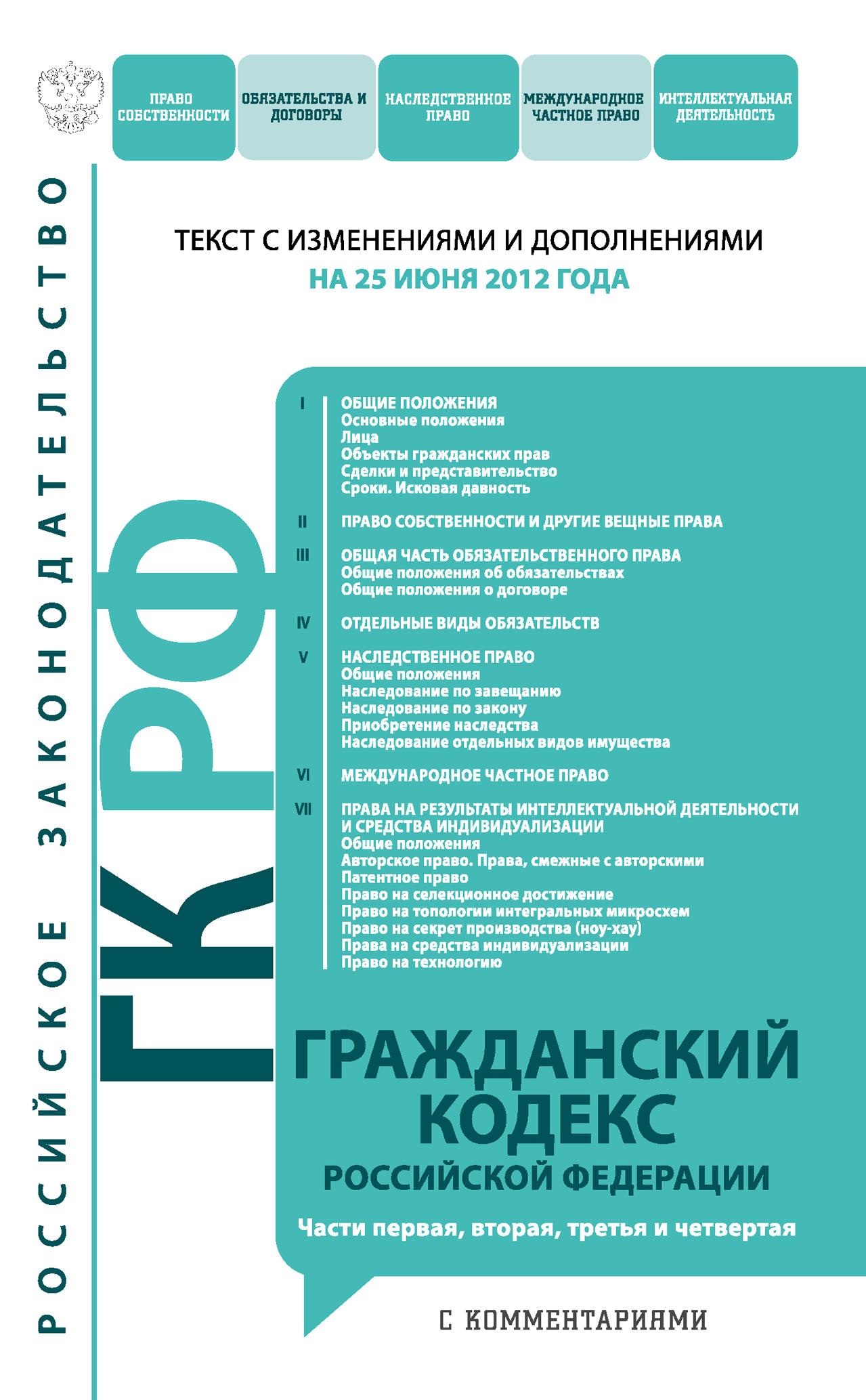 Гражданский кодекс Российской Федерации с комментариями. Части первая, вторая, третья и четвертая. Текст с изменениями и дополнениями на25 июня 2012года